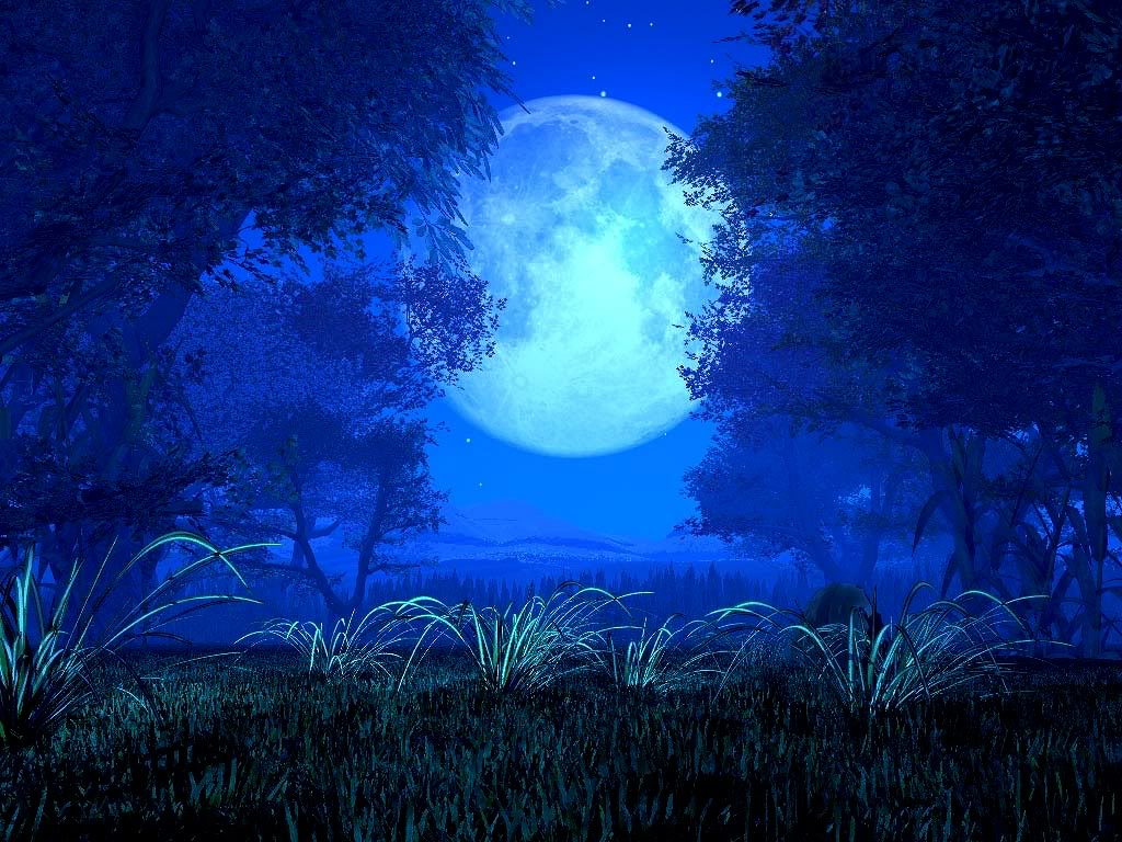 Blue Fantas Moon Wallpaper