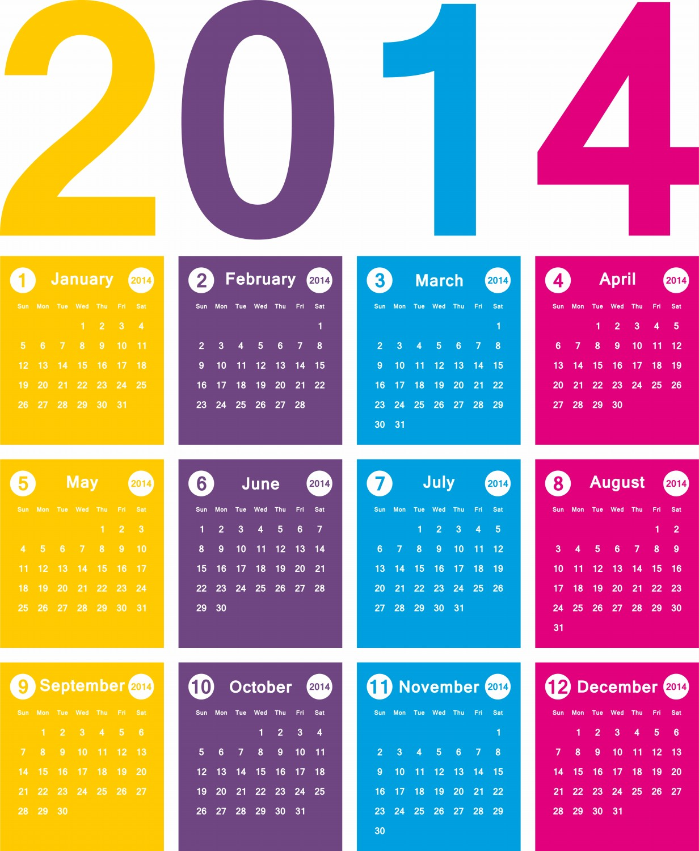 New Year Beautiful 2014 Calendar