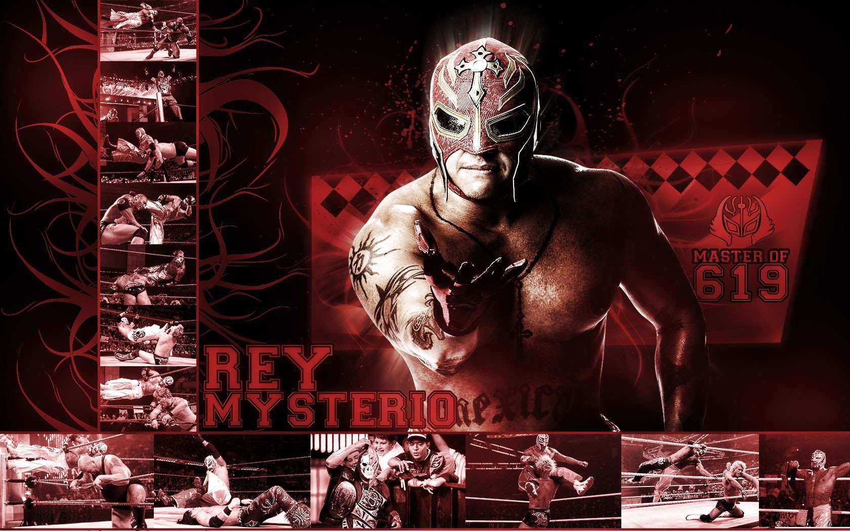 WWE Rey Mysterio in Red Background