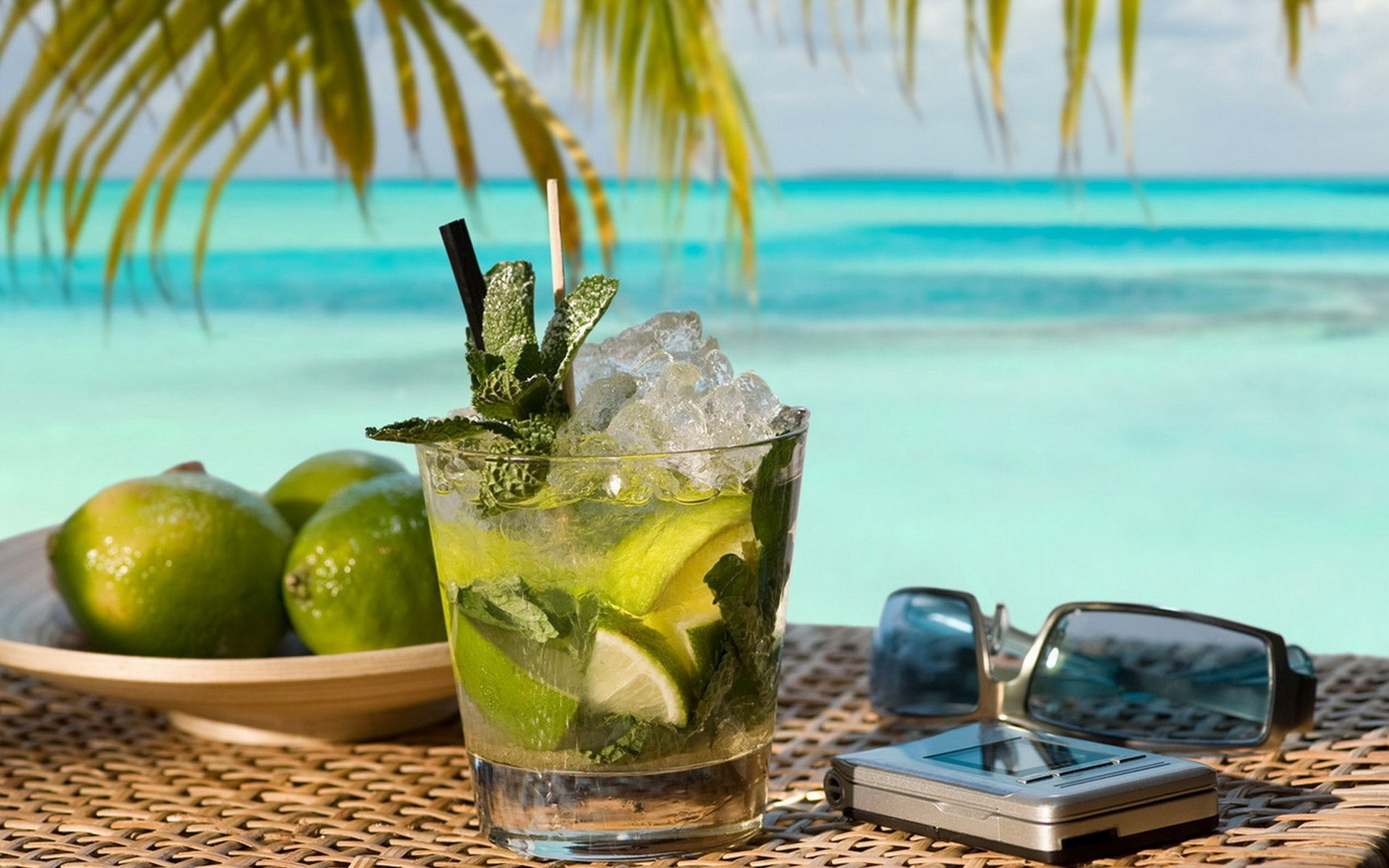 a drink at the beach