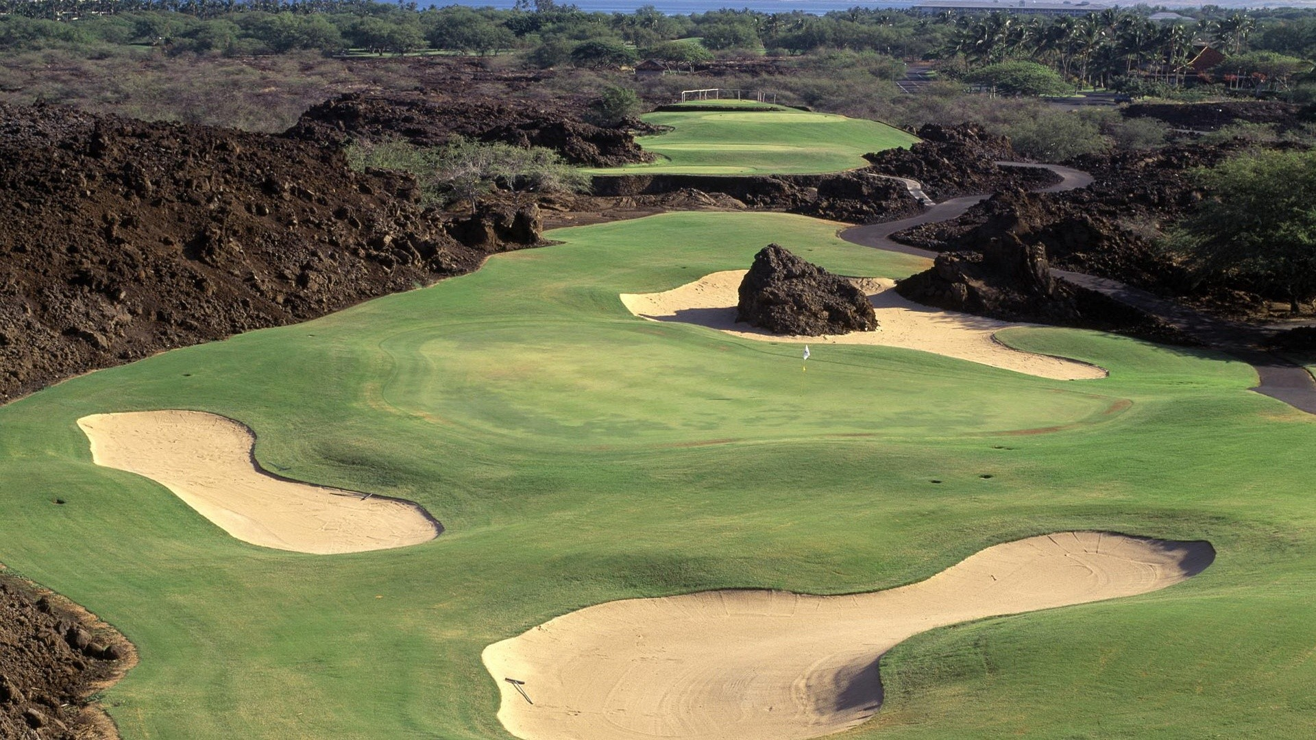 golf course with sand
