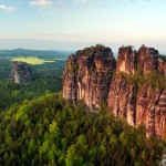 Amazing rock cliffs in a forest