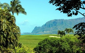 Princeville ocean view golf course overlooking beach cliffs kauai hawaii desktop background